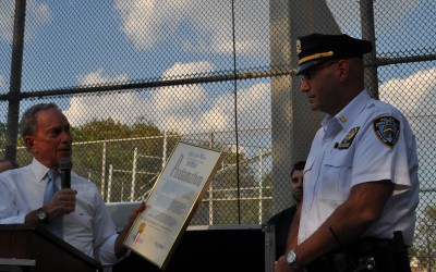 Bloomberg Speaks at 106th Precinct's Night Out Against Crime
