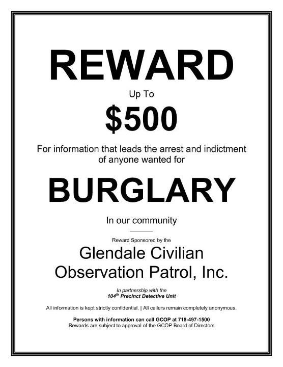 $500 Reward Offered for Tips on Local Burglaries