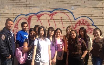 Maspeth High Students Erase Graffiti in Middle Village