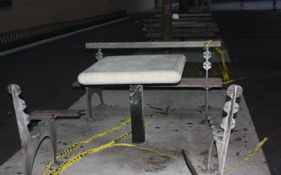 Explosion at P.S./M.S. 207 Destroys Park Benches