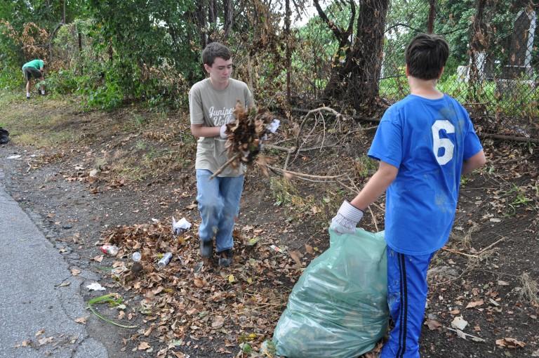 Volunteers Clean Middle Village Eyesore