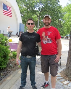 Paul Wunsch, left, and Greg Cerar, pose in front of Woodhaven's Forest Park band shell, where their group, The Boom Section, played as part of the first annual Forest Park Rock Fest, which Cerar organized, on Saturday. Anna Gustafson/The Forum Newsgroup
