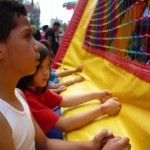 Kids clamor for entrance into the bouncy castle- (2)