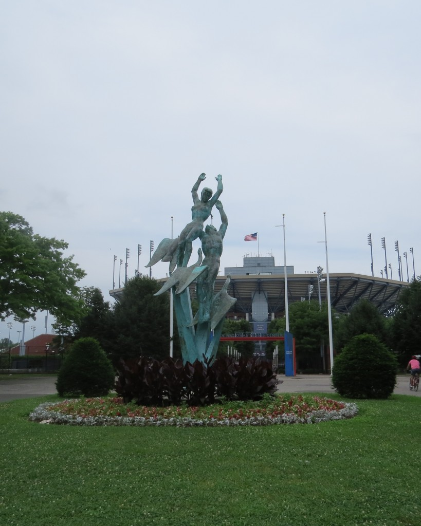 "The bronze ""Freedom of the Human Spirit"" sculpture, located near the United States Tennis Association grounds, stands 28 feet tall and was fashioned by Marshall M. Fredericks for the 1964 World's Fair."