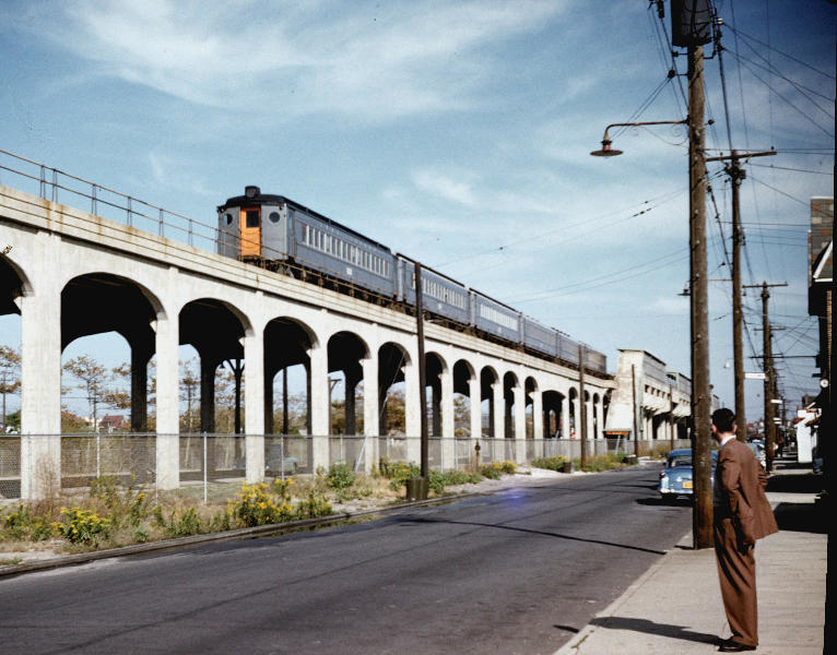 The Rockaway Beach Rail Line, pictured here in the 1950s, once ran from Rockaway to Rego Park.
