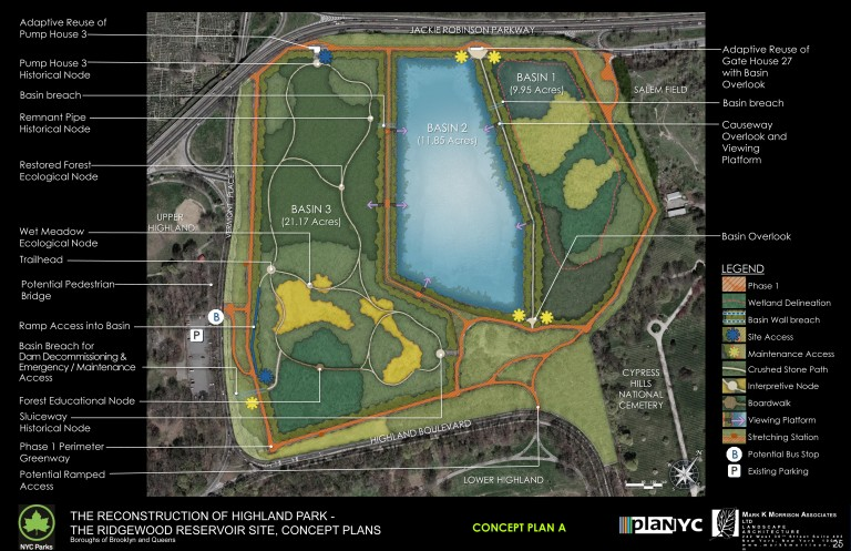 City Officials Unveil Plans for Ridgewood Reservoir – But There Is No Funding For Any Of It