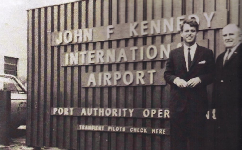 Robert F. Kennedy stands in front of the airport newly renamed for his brother, President John F. Kennedy, a month after the nation's leader was assassinated in 1963. Photo Courtesy JFK International Airport Chamber of Commerce