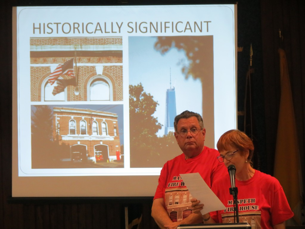 Steve and Maxine Fisher speak at last week's Community Board 5 meeting about the importance of preserving the firehouse. Anna Gustafson/The Forum Newsgroup