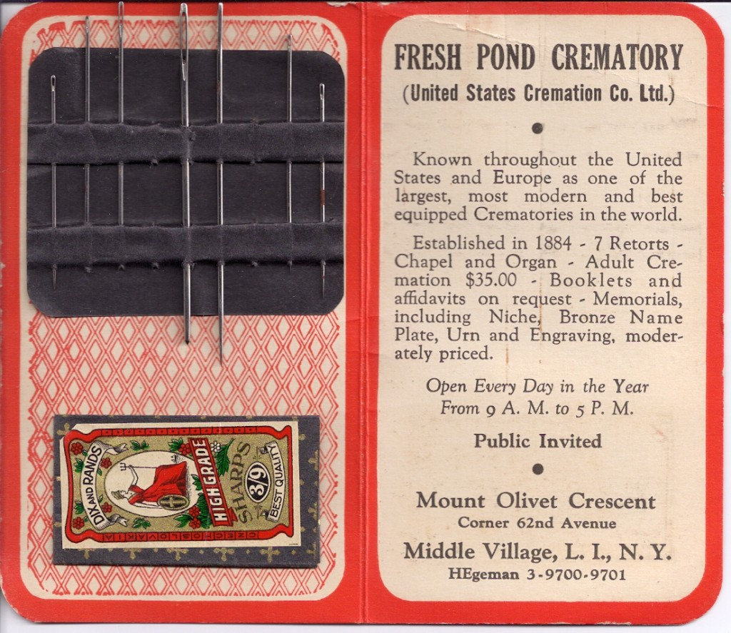 Promotional material for Fresh Pond Crematory, for which Robert McNally's great-aunt was president.
