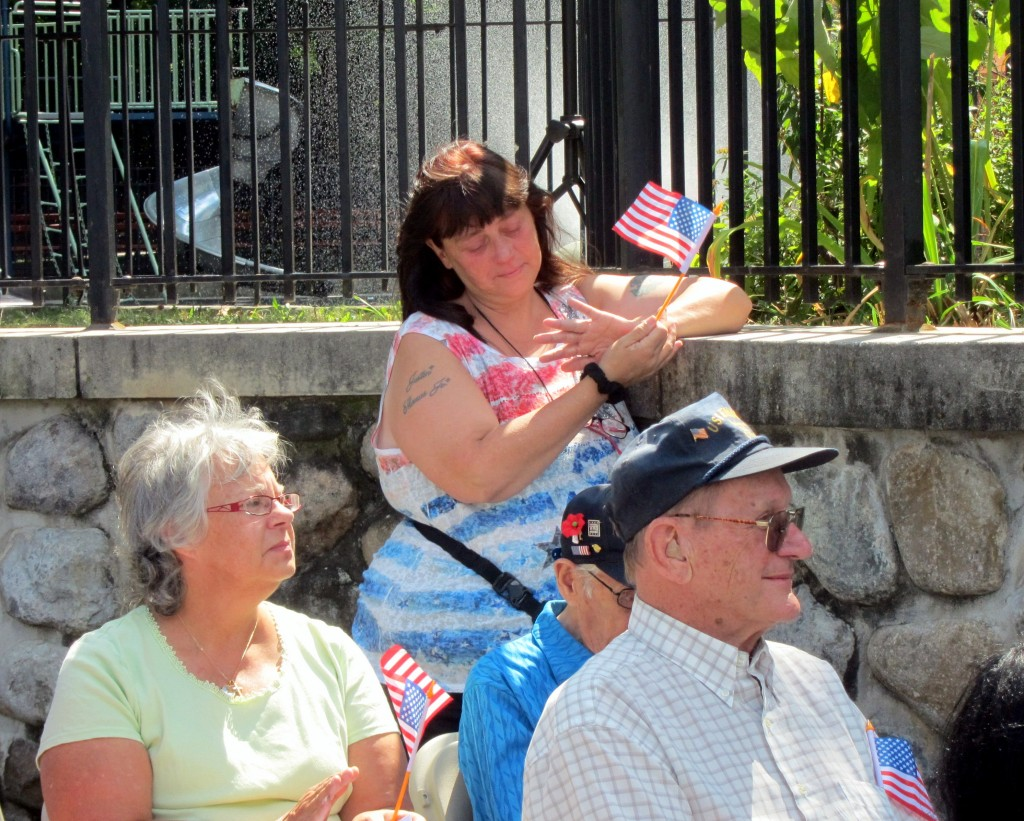 Linda Catalano, of Glendale, honored her friend, Firefighter Lt. Robert F. Wallace of Woodhaven, at Sunday's ceremony.