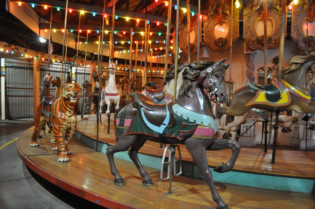Built in 1903, the Forest Park Carousel includes 49 sculpted horses, a lion, a tiger, a deer, and two chariots. File Photo