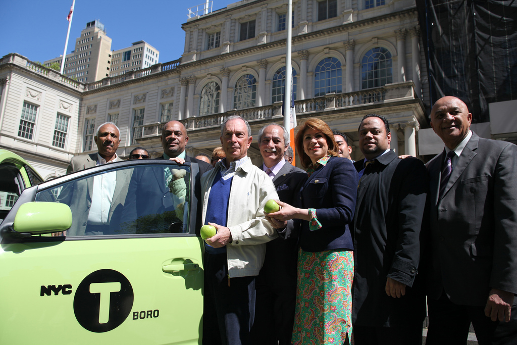 Mayor Bloomberg and other city officials announce in April that green taxis will be permitted to pick up street hails throughout the city. Photo Courtesy NYC