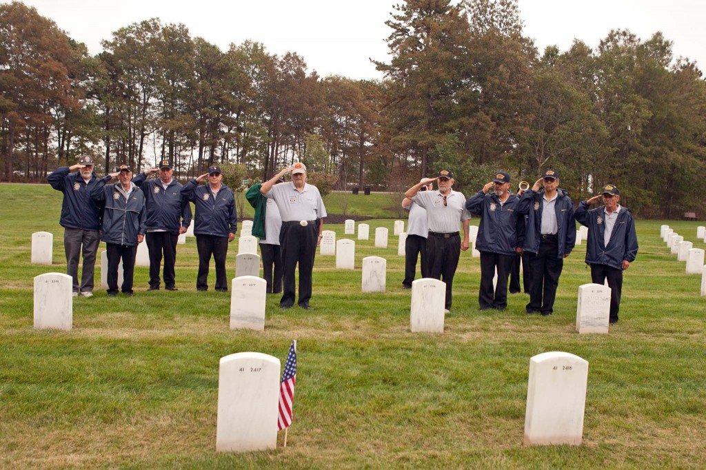 Chapter 32 members visit Calverton each October to honor the indigent veterans buried at the national cemetery. Photos by Michael O'Kane
