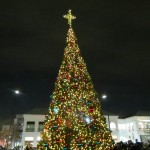 Families from throughout Queens gathered to watch as the Christmas tree in Atlas Park was lit Saturday evening.