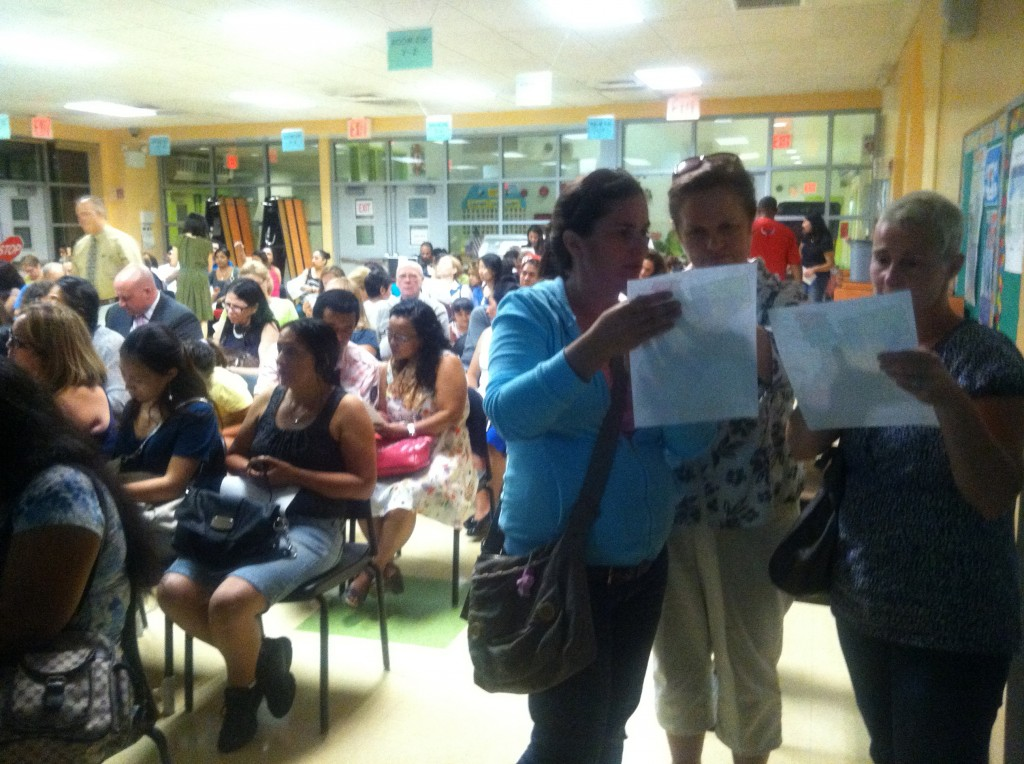 While parents, pictured here at a September meeting in Ridgewood, had previously expressed concerns about the city's plan to rezone schools in District 24, those fears have, for the most part, been allayed, and the Community Education Council voted last week to approve the proposal. File Photo