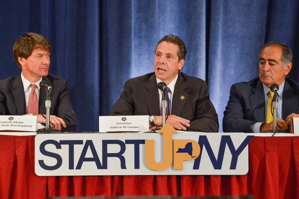Gov. Cuomo, center, last week launched Start-Up NY, an initiative that will create tax-free zones to attract and grow new businesses around the state. The area surrounding York College was chosen as one of those sites. Photo Courtesy Gov. Cuomo's Office