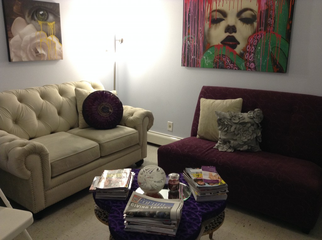 The waiting room at Dolce Aesthetics in Glendale immediately makes people feel at ease.