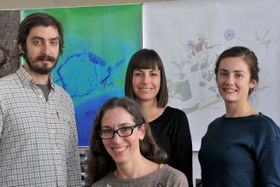 Professor Catherine Seavitt Nordenson, front, with members of her research team: Eli Sands, left, Danae Alessi, and Kjirsten Alexander. Photo Courtesy CUNY