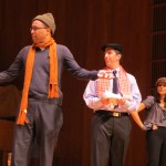 """Sure, they may not be orphans, but that doesn't mean Assembly members Jose Peralta, left, Phil Goldfeder, and Aravella Simotas couldn't grab some broomsticks and land laughs singing about the trek to Albany in their parody of """"Hard-Knock Life"""" from the Broadway show """"Annie."""""""