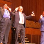 """Councilman Leroy Comrie, left, Deputy Borough President Barry Grodenchik, and Councilwoman Karen Koslowitz landed laughs lamenting term limits in """"Those Were the Days."""""""