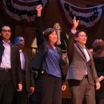"""Councilman Eric Ulrich, left, U.S. Rep. Grace Meng and Assemblyman Ron Kim show off their song and dance skills in the """"Brotherhood in Queens"""" act."""