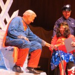 """True, former Council Speaker Peter Vallone Sr. and former Borough President Claire Shulman may not be faster than speeding bullets any longer, but they did receive some of the evening's loudest applause in their skit, """"Save the World!"""""""