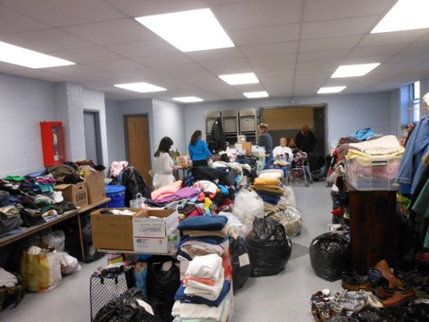 The Lindenwood Alliance worked with Ellen Buonpastore and others in the neighborhood to provide clothing and food for residents who had lost everything in the storm. Photos Courtesy Joann Ariola