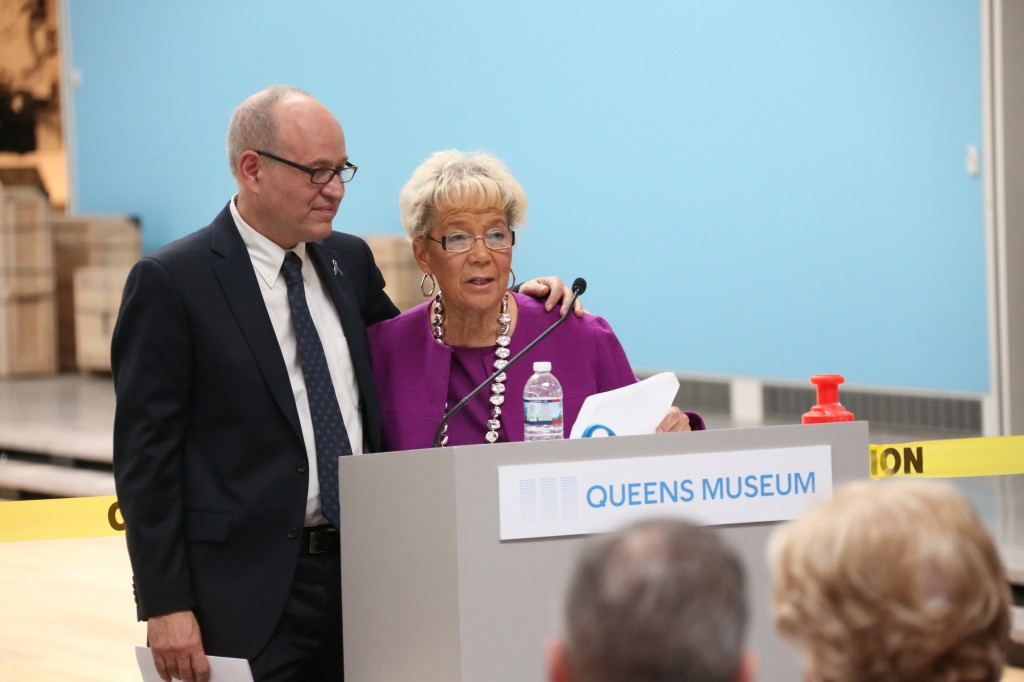 Museum Executive Director Tom Finkelpearl and Borough President Helen Marshall celebrate the ribbon cutting on the facility's $69 million makeover.