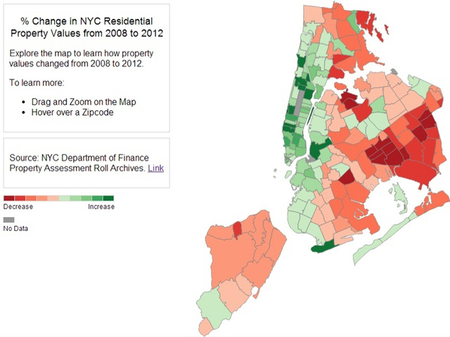 A data journalist created an interactive map that allows individuals to see how property values changed between 2008 and 2012.Photo Courtesy Vizynary