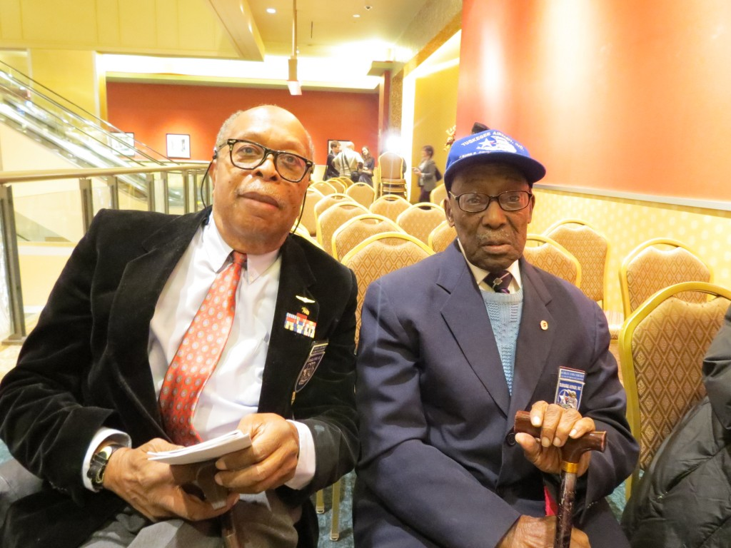 Tuskegee Airmen Lt. Col. Clayton F. Lawrence, left, and Audley Coulthurst attended the Veterans Day ceremony in South Ozone Park.