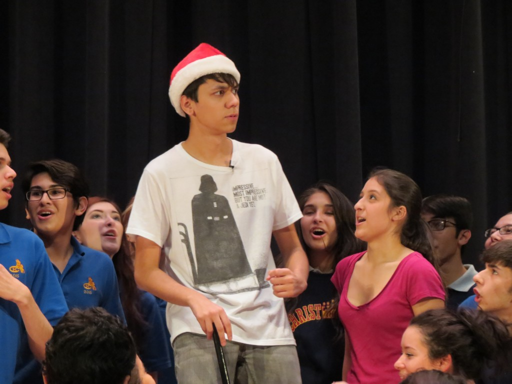 Joseph Ortega, who plays the miserly Scrooge, rehearses on Monday.