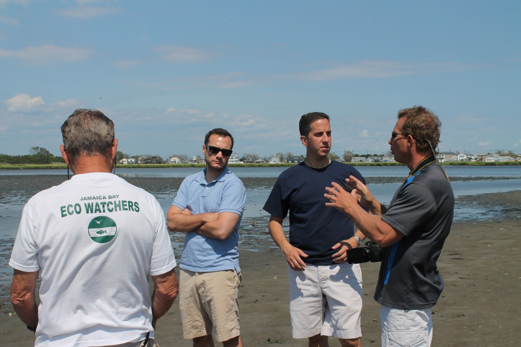 Assemblyman Phil Goldfeder, second from right, with Dan Mundy Sr. and Jr., and U.S. Senator Chuck Schumer's Office toured the wetlands of Jamaica Bay to assess the years of deterioration and damage after Hurricane Sandy. Photo Courtesy NYS Assembly