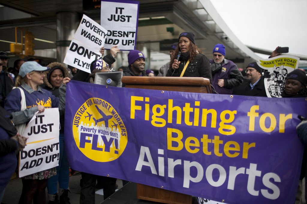 Throughout much of this holiday season, workers at LaGuardia, pictured here, as well as JFK International, have been protesting what they said are egregious working that include poverty level wages. Photo Courtesy Dave Sanders, 32BJ SEIU