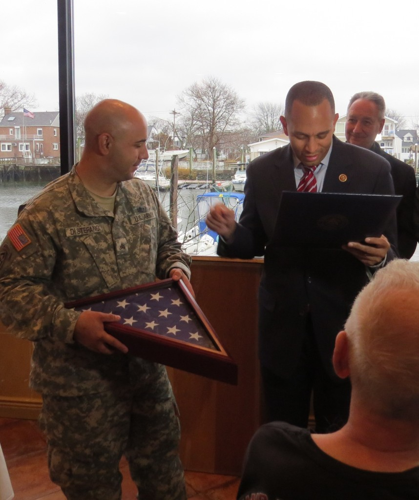Congressman Hakeem Jefferies presented Sgt. DiStefano with a United States flag flown over the Capitol in Washington D.C. in his honor.