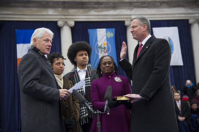 Bill de Blasio sworn in as New York City's 109th mayor
