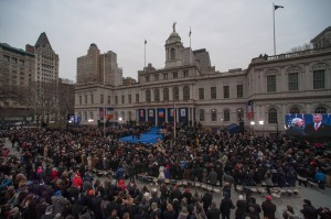 About 5,000 people flocked to City Hall to watch Mayor Bill de Blasio be sworn into office on New Year's Day.  Photo courtesy NYC Mayor's Office