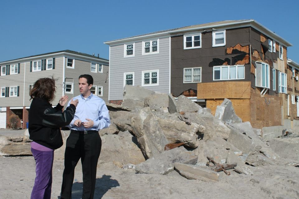 Following Superstorm Sandy, Assemblyman Phil Goldfeder, right, has urged the top cell phone service carriers to build stronger cell towers and infrastructure throughout southern Queens and Rockaway that will withstand the impact of future storms and severe weather conditions. Photo courtesy Phil Goldfeder