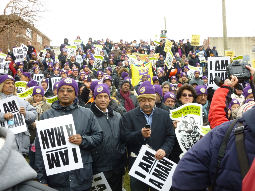 Employees from LaGuardia and John F. Kennedy International Airports protested what they described as unjust working conditions at a rally on Martin Luther King Jr. Day. Photo by Phil Corso