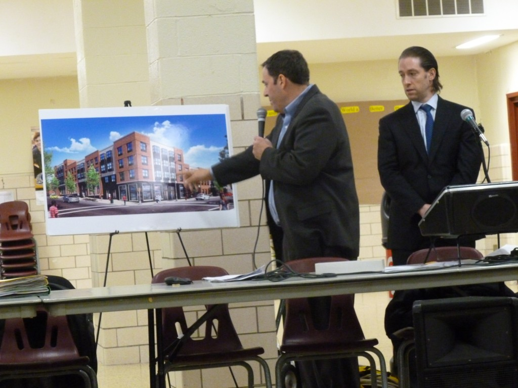 Tom Loftus, of Aufgang Architects, speaks about his group's proposal to create an upscale apartment building in Ridgewood. Photo by Phil Corso