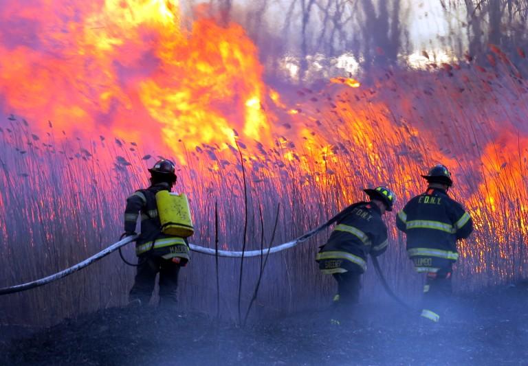 Howard Beach brush fire breaks out near Spring Creek; more than 100 firefighters battle blaze