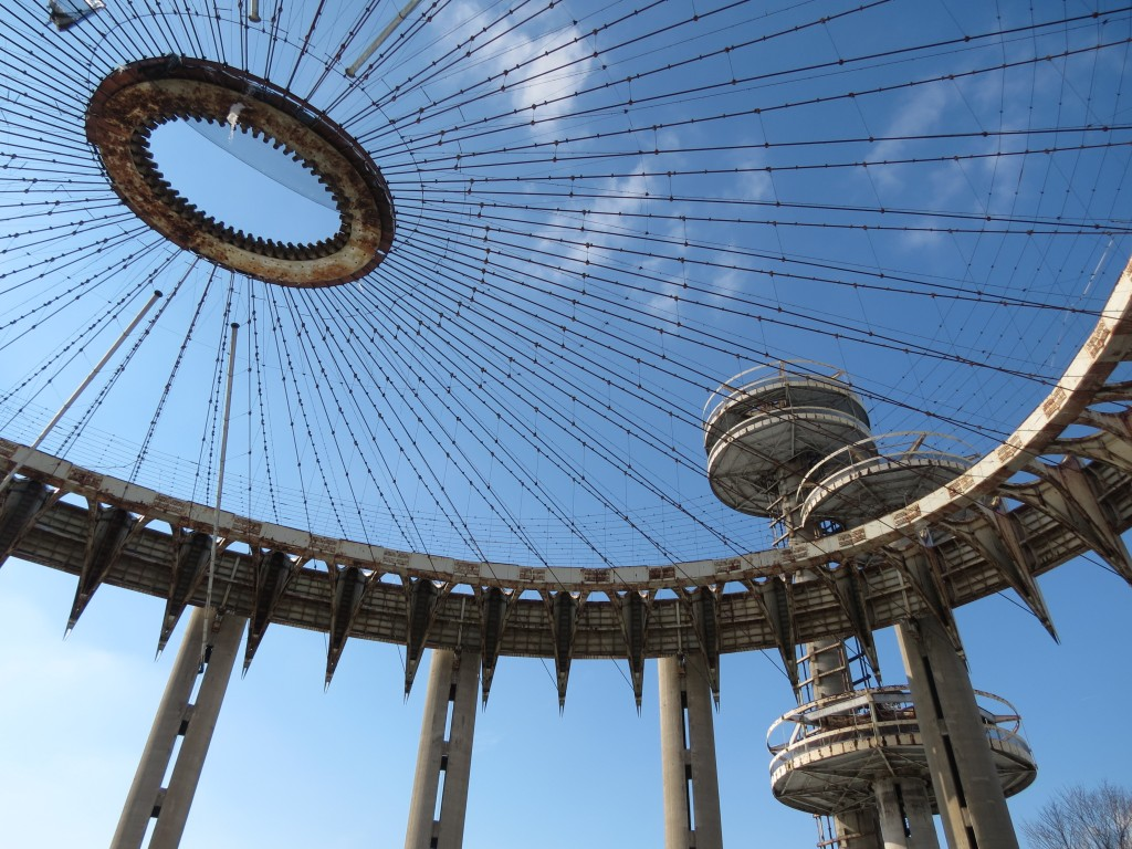 The New York State Pavilion in Flushing Meadows Corona Park will open to the public on Tuesday, April 22 between 11 a.m. and 2 p.m.  Photo by Anna Gustafson