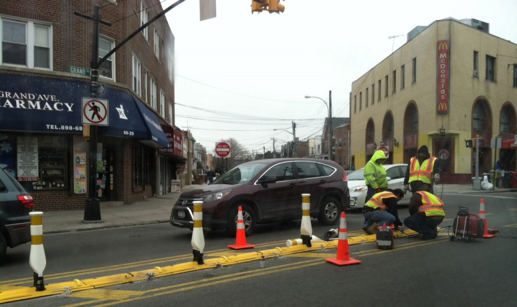 The city Department of Transportation made changes this week at a Maspeth intersection that residents have long lambasted as dangerous - and where a 68-year-old woman was killed earlier this year. Photo courtesy Dmytro Fedkowskyj