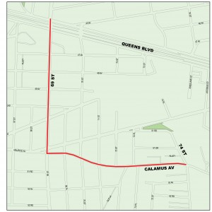 The city is set to begin a $25 million infrastructure upgrade that will help Elmhurst, Maspeth and Middle Village with flooding problems. The project will add a five-foot by eight-foot barrel sewer line to the sewer lines at 69th Street between Queens Boulevard and Calamus Avenue between 69th and 70th streets. Additionally, the project will add a barrel sewer line of the same size to Calamus Avenue between 70th and 74th streets. Photo courtesy the NYC Department of Environmental Protection