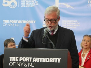 Port Authority Executive Director Patrick Foye, speaking here at a press conference at JFK International Airport, said he will follow Gov. Cuomo's directive to combat longstanding noise issues surrounding Queens' two airports. Photo by Anna Gustafson