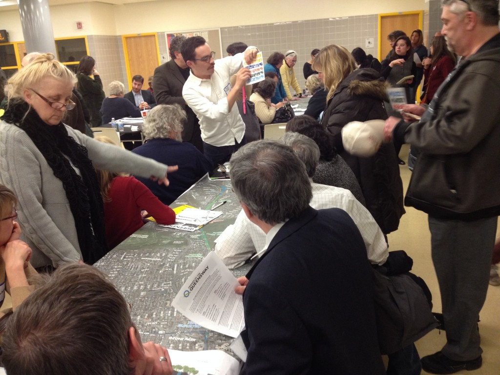 Residents from throughout Queens gathered for a meeting in Forest Hills Monday about the proposed QueensWay. Photo by Phil Corso