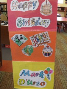 Children at the Richmond Hill library made a card for Mark D'Urso, the owner a nearby Key Food on Lefferts Boulevard, who recently donated thousands of dollars to the library.