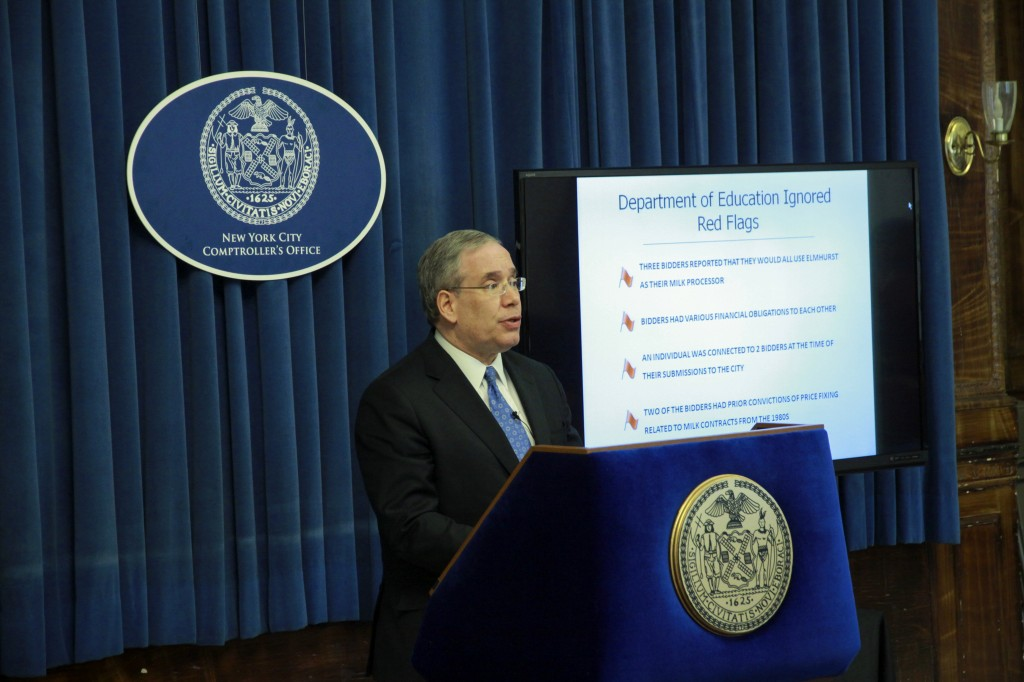 City Comptroller Scott Stringer presents findings from a report that raised questions over the way the city Department of Education issued millions of dollars in contracts to milk vendors.  Photo courtesy NYC Comptroller's Office