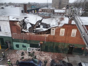 An aerial view of the building at 78-19 Jamaica Ave. in Woodhaven just after it collapsed April 12. File photo