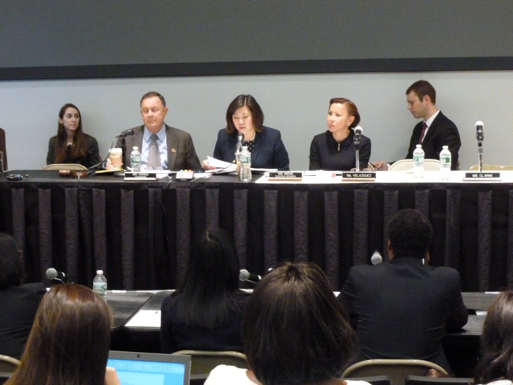 U.S. Reps. Grace Meng, center, and Nydia Velazquez, second from right, joined other elected officials and business leaders for a Congressional hearing at Queens College Tuesday on help for small businesses. Photo by Phil Corso