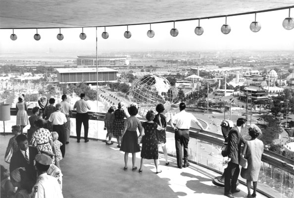 isitors to the World's Fair could ascend to the two observation decks of the New York State Pavilion and enjoy a 360 degree view of the fair below them. Photo courtesy NYC Parks